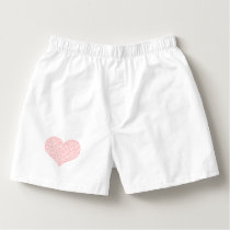 Heart - geometric  pattern - pink and white. boxers