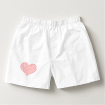 Heart - geometric  pattern - red and white. boxers