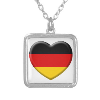 Heart German flag I like Germany Silver Plated Necklace