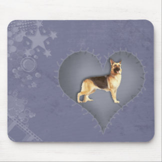 Heart German Shepherd Mouse Pad