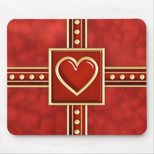 Heart Gift Wrap Mouse Pad