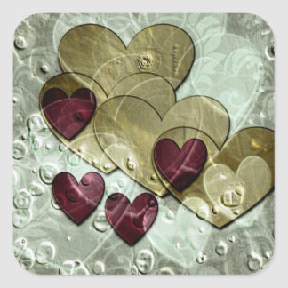 Heart Gifts | Gold and Ruby Square Sticker