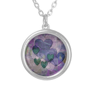Heart Gifts | Purple and Green Silver Plated Necklace