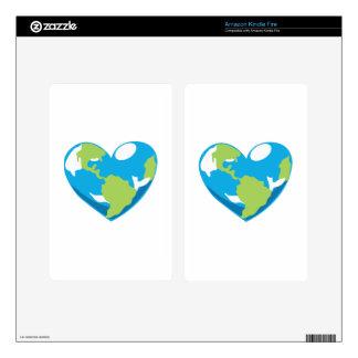 Heart Globe Kindle Fire Skins