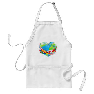 Heart globe with flags adult apron