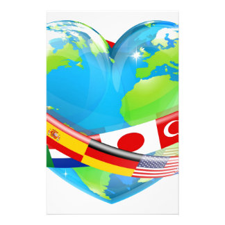 Heart globe with flags personalised stationery