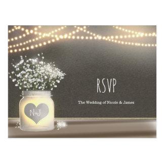 Heart Glowing Mason Jar & Baby's Breath RSVP Postcard