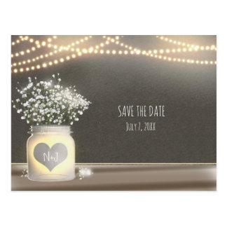 Heart Glowing Mason Jar & Baby's Breath Wedding Postcard