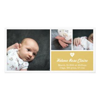 Heart Gold Birth Announcement Photo Card