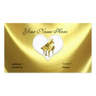 Heart Gold Grand Piano Keyboard Business Card