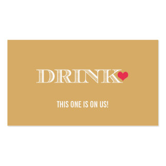Heart Gold Red Wedding Drink Ticket Business Card