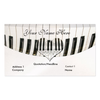 Heart Grand Piano and Keyboard Business Card