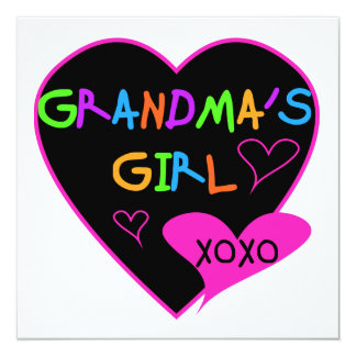 Heart Grandma's Girl T-shirts and Gifts 5.25x5.25 Square Paper Invitation Card