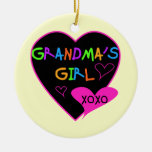 Heart Grandma's Girl T-shirts and Gifts Double-Sided Ceramic Round Christmas Ornament