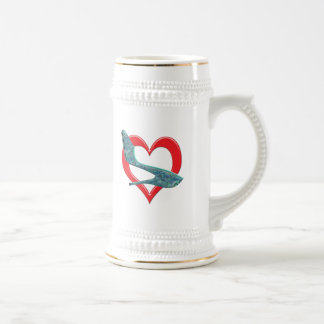 Heart Green & Blue Abalone Shell Beer Stein