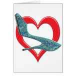 Heart Green & Blue Abalone Shell Greeting Card