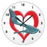 Heart Green & Blue Abalone Shell Wall Clocks
