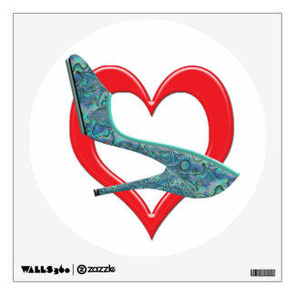 Heart Green & Blue Abalone Shell Wall Decal