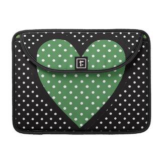 Heart Green Polka Dots Sleeves For MacBooks