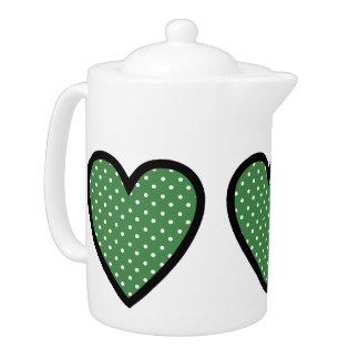Heart Green Polka Dots