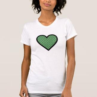 Heart Green Polka Dots T Shirts