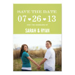Heart Green Save the Date Photo Invitations