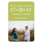 Heart Green Save the Date Wedding Photo Magnet Flexible Magnet