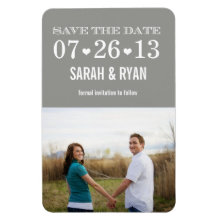 Heart Grey Save the Date Wedding Photo Magnet