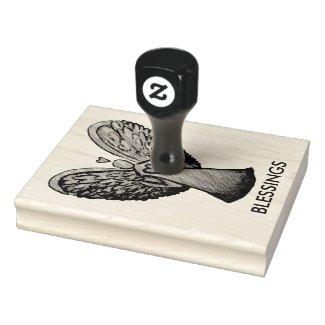 Heart Guardian Angel Custom Rubber Stamp Art