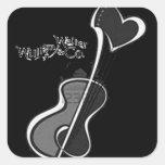 Heart Guitar Grey Black Square Sticker