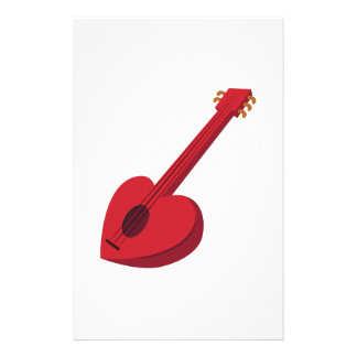 Heart Guitar Stationery Design