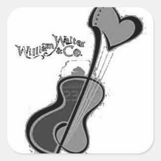 Heart Guitar White Square Sticker