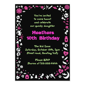Heart Halloween Happy Birthday Party Invitation