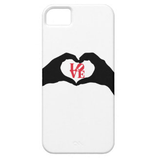 Heart hand gesture and LOVE graphic word in red iPhone SE/5/5s Case