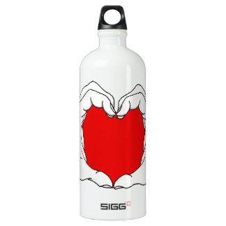 Heart Hands Aluminum Water Bottle