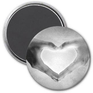Heart Hands B&W Photo 3 Inch Round Magnet