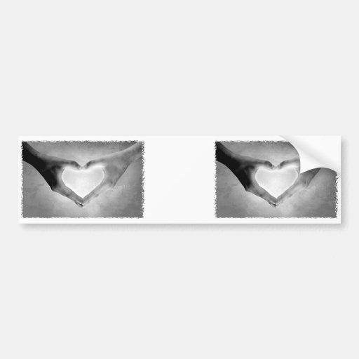 Heart Hands B&W Photo Car Bumper Sticker