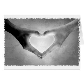 Heart Hands B W Photo Greeting Cards