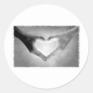Heart Hands B&W Photo Classic Round Sticker