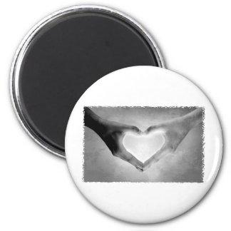 Heart Hands B&W Photo 2 Inch Round Magnet