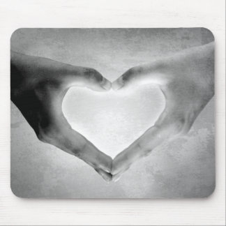 Heart Hands B&W Photo Mouse Pad