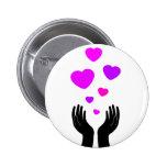 Heart Hands Badge Button