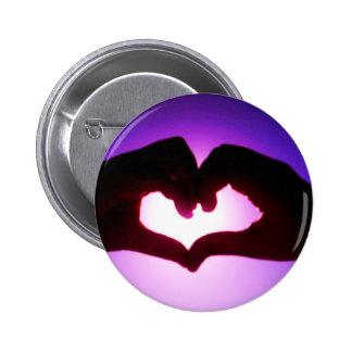heart hands purple 2 inch round button