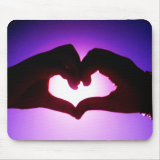 heart hands purple mouse pad