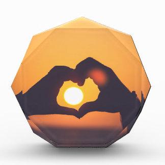 Heart Hands Sunset Acrylic Award