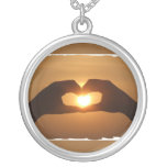 Heart Hands Sunset Necklace Necklaces
