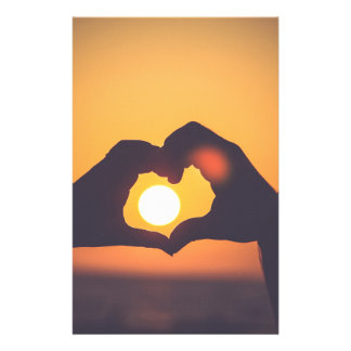 Heart Hands Sunset Stationery