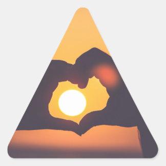 Heart Hands Sunset Triangle Sticker