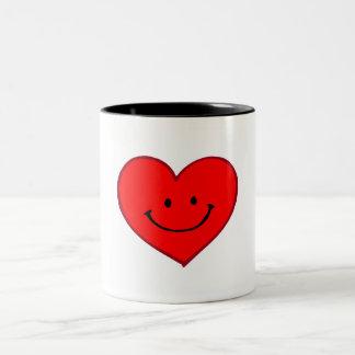 Heart  (Happy Face) Two-Tone Coffee Mug