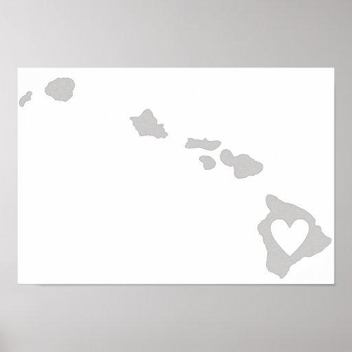 Heart Hawaii state silhouette Print
